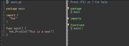Vim tagbar screenshot